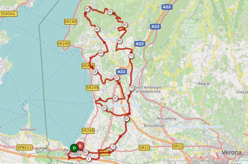 percorso gran fondo bike division peschiera del garda 2018